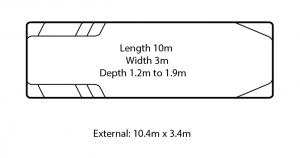 milan large fibreglass swimming pool
